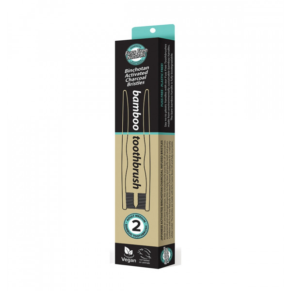 Essenzza Fuss Free Naturals Toothbrush Bamboo Activated Charcoal Medium 2 Pack