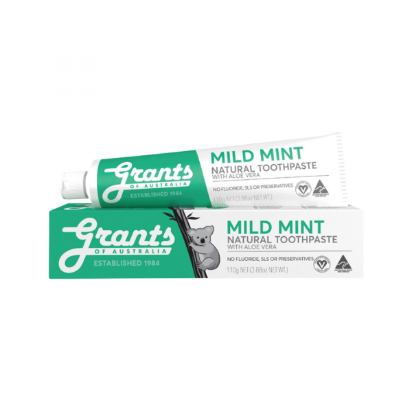 Grants Natural Toothpaste Mild Mint with Aloe Vera 110g